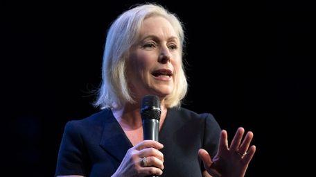 Democratic presidential hopeful Sen. Kirsten Gillibrand speaks at