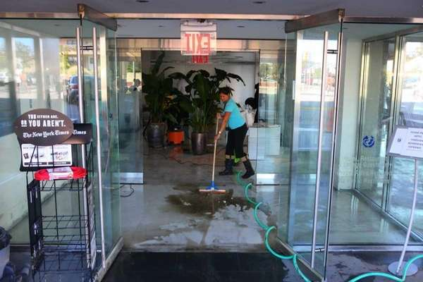 Cleanup begins in the lobby of the Allegria