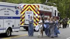A trolley bus carrying a wedding partywas struck