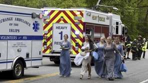 A trolley bus carrying a wedding party was struck