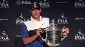Brooks Koepka saw his seven-stroke lead shrink to