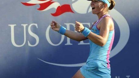 Simona Halep after defeating Li Na during the