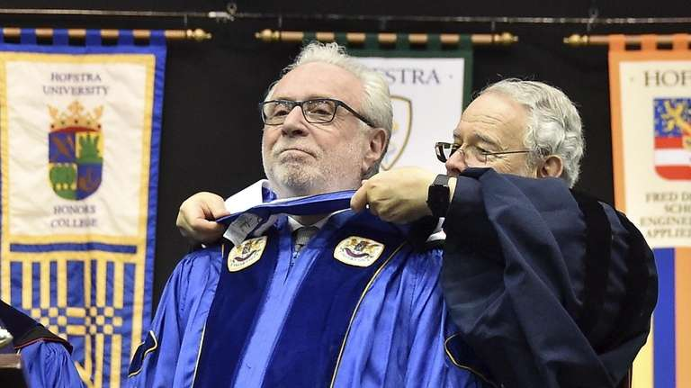 Wolf Blitzer receives an honorary doctorate degree during