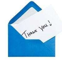 Sending a thank you email or card should
