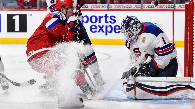 U.S. goaltender Tyler Parsons makes a save in