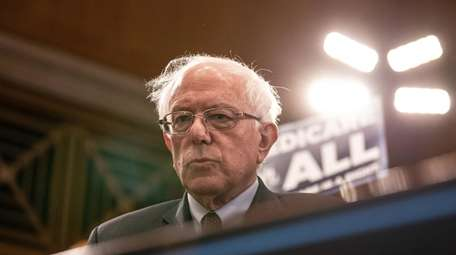 Sen. Bernie Sanders at a news conference in