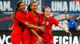 From left, Tobin Heath, Alex Morgan and Rose