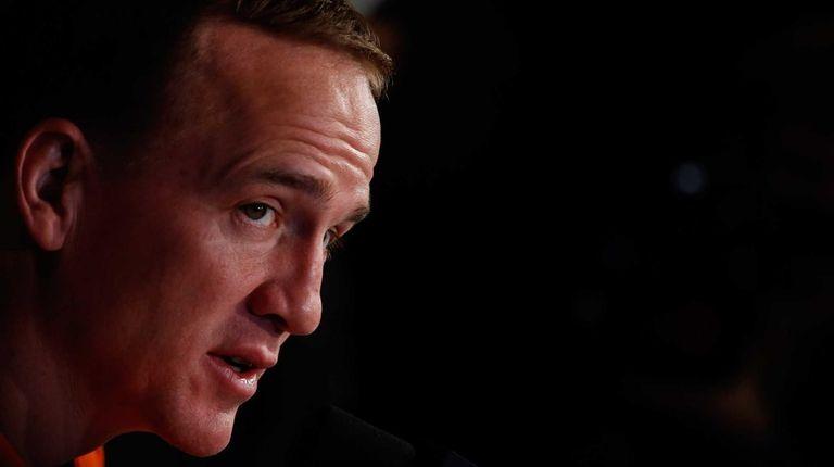 Peyton Manning of the Denver Broncos during Super