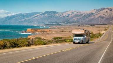 An RV on Highway 1 along the central