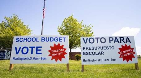 Signs outside Huntington High School on Thursday showed