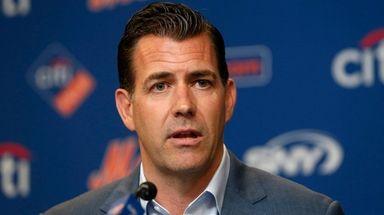 Mets general manager Brodie Van Wagenen speaks to