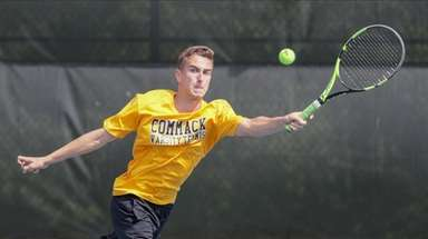 Tyler D'Amato of Commack competes in first singles