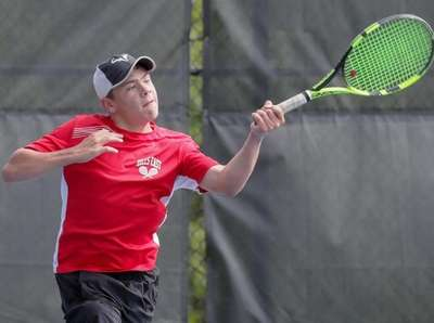 Dylan D'Agate of Half Hollow Hills East competes