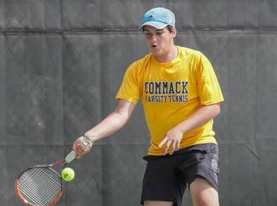 Matt Strogach of Commack competes in second singles