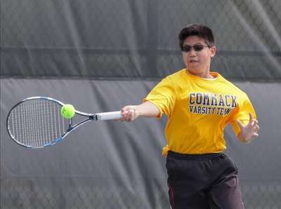 James Yu of Commack competes in First Doubles