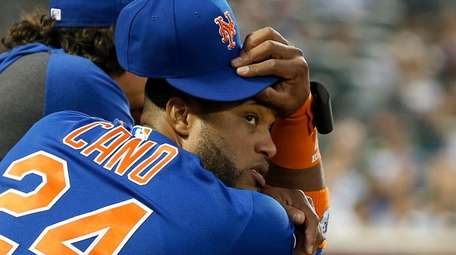 Robinson Cano #24 of the Mets looks on