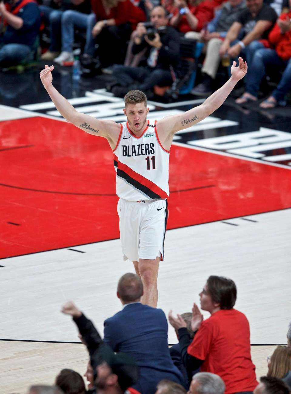 Portland Trail Blazers forward Meyers Leonard gestures to