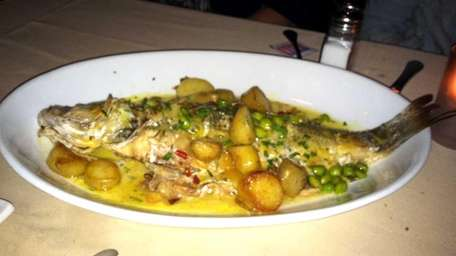 Braised black bass at East by Northeast restaurant