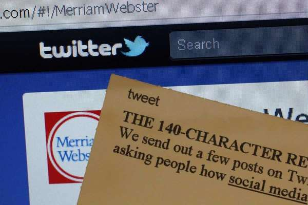 "An index card with the entry ""tweet"" next"