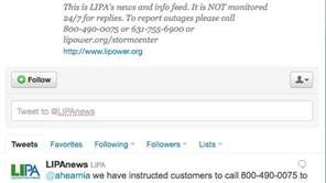 A screenshot of the @LIPAnews Twitter account. (Sept.