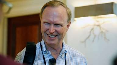 Giants co-owner John Mara speaks to the media