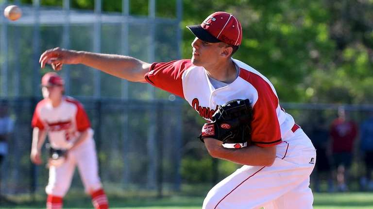 Connetquot starting pitcher Joey Savino delivers the final