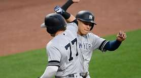 The Yankees' Clint Frazier celebrates his two-run home