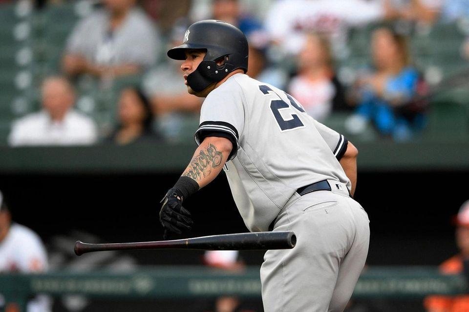The Yankees' Gary Sanchez drops his bat as