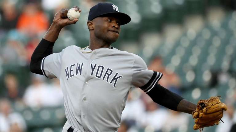 Starting pitcher Domingo German of the Yankees throws
