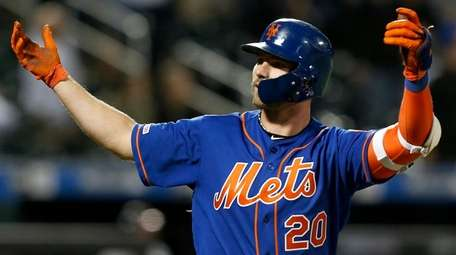 Pete Alonso of the Mets reacts after his