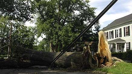 Damage from Tropical Storm Irene at a property