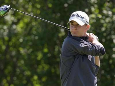 Zachary Shallat of Friends Academy tees off during