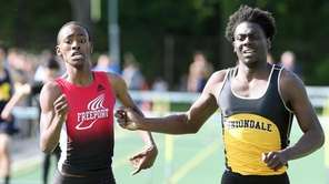 Trevon Campbell from Freeport (left) edges out Malik