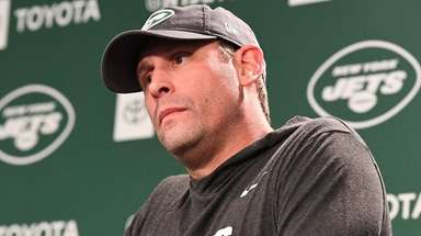 Jets coach Adam Gase answers questions from the