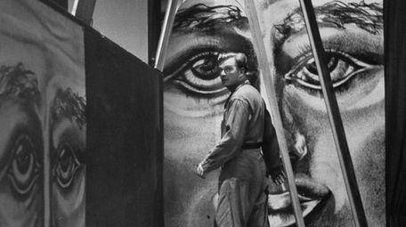 Eddie Albert on the set of a 1953