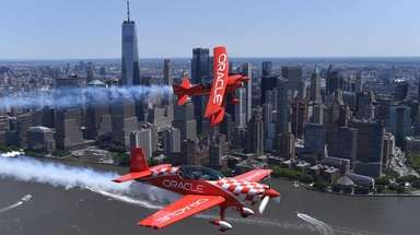 Aerobatic pilots Sean D. Tucker and Jessy Panzer