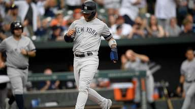 New York Yankees' Gleyber Torres comes in to