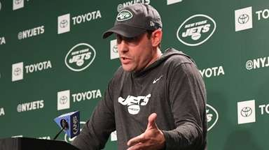 Jets head coach Adam Gase answers questions from