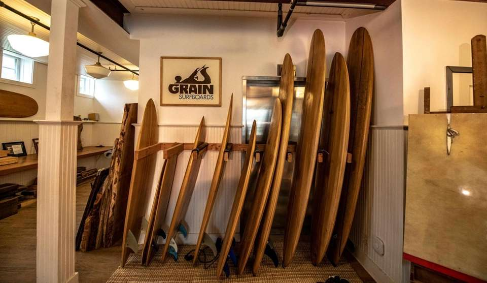 Wooden surfboards at Grain Surf Shop In Amagansett