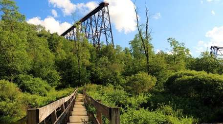 In Kinzua Bridge State Park, the remains of