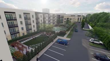 Developer's rendering of apartments proposed in Garden City.