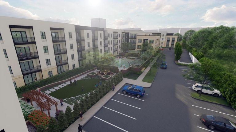 Developer's rendering of apartments proposed in Garden City.