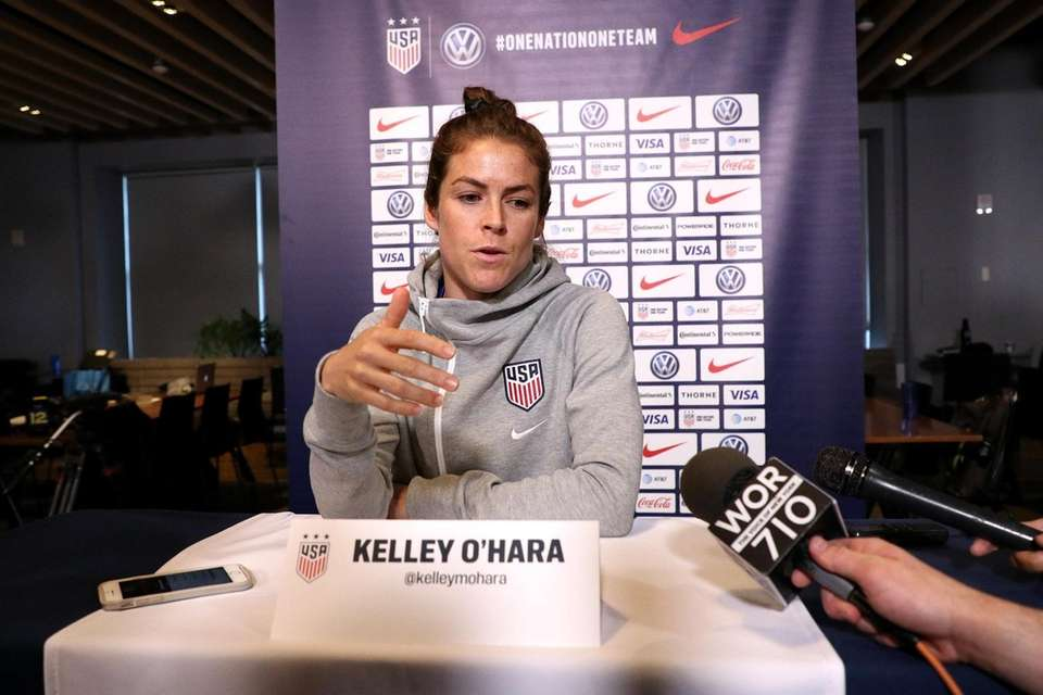 Kelley O'Hara of the United States speaks during