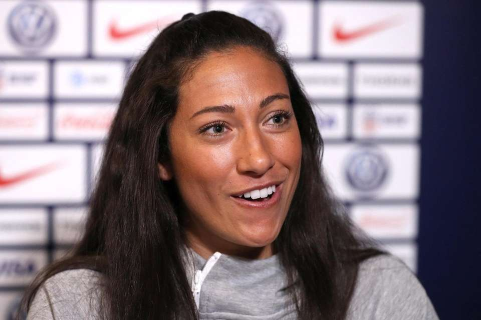 Christen Press of the United States speaks during