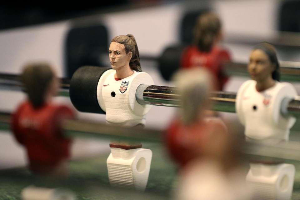 A detail view of the custom foosball table