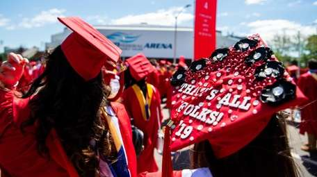 Stony Brook University graduates at their commencement Friday