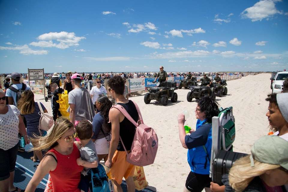 NYS Environmental Conservation Police patrol the beach during