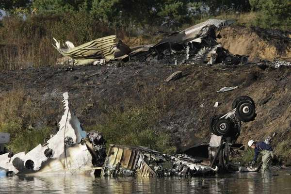 Wreckage of Russian Yak-42 jet, carrying a top