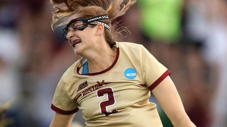 Boston College's Sam Apuzzo celebrates after scoring the