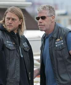 "Charlie Hunnam, left, and Ron Perlman in ""Sons"